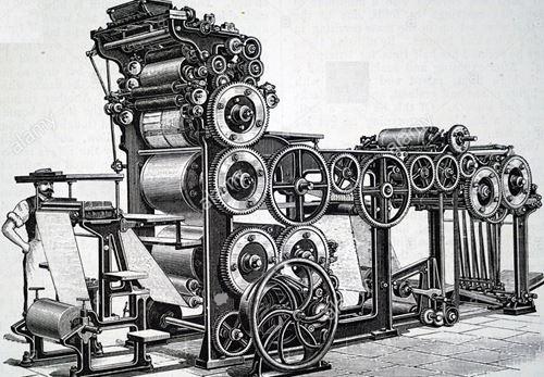 Les progrès de la presse, le télégraphe Chappe, la presse à cylindre de Koenig, l'encre de Pierre Lorilleux, la rotative de Caverley et Mac Donald, la linotype de Mergenthaler, le téléphone de
